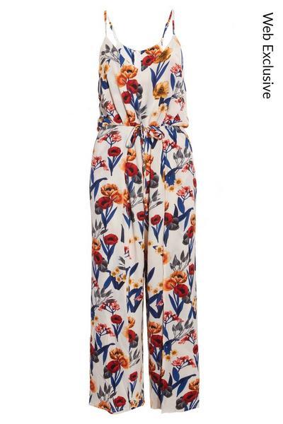 Cream, Orange & Navy Floral Culotte Jumpsuit